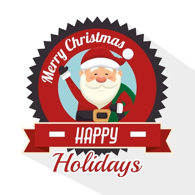 Feliz feliz navidad aislado icono de diseño Vector Premium