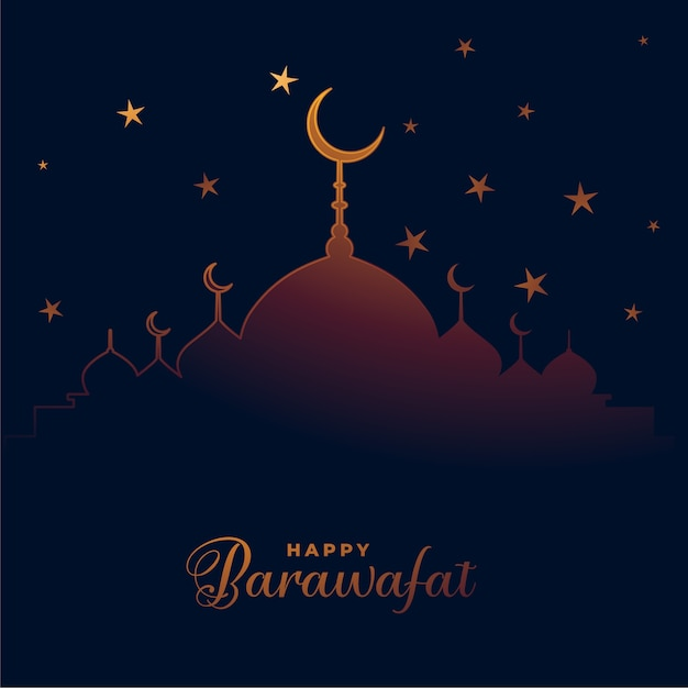 Feliz festival barawafat desea diseño de tarjeta vector gratuito