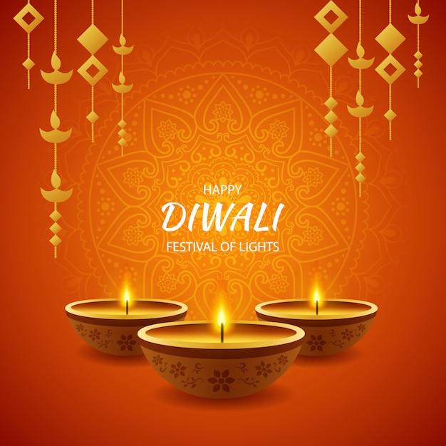 Feliz festival de diwali de celebración ligera Vector Premium