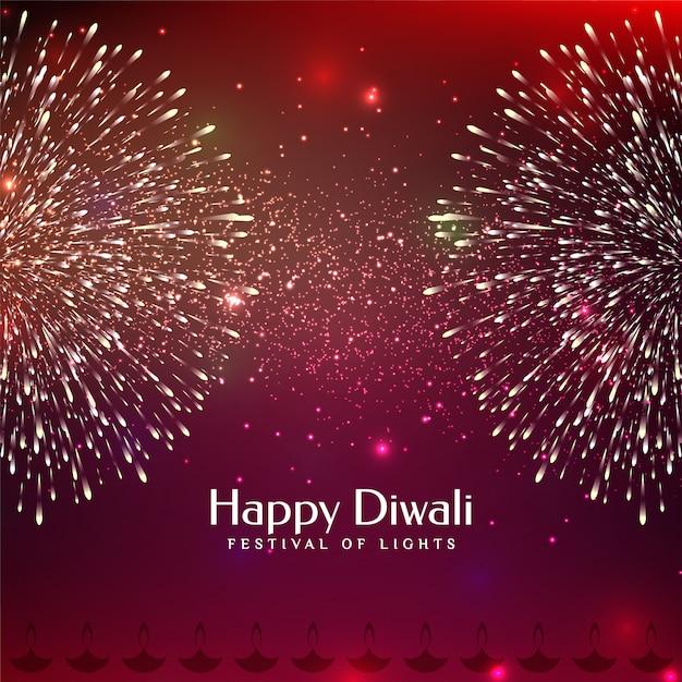 Feliz festival de diwali saludo fuegos artificiales vector gratuito