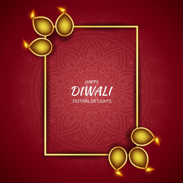 Feliz festival de luz de diwali, tarjeta de felicitación Vector Premium