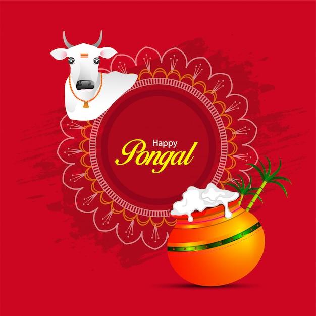 Feliz festival religioso de pongal del sur de la india. Vector Premium