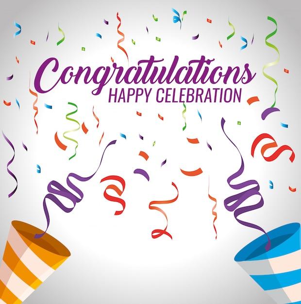 Feliz fiesta de celebración con decoración de confeti vector gratuito