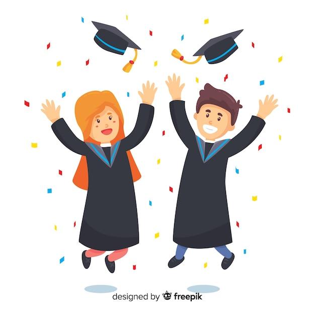 Feliz fondo de graduación vector gratuito