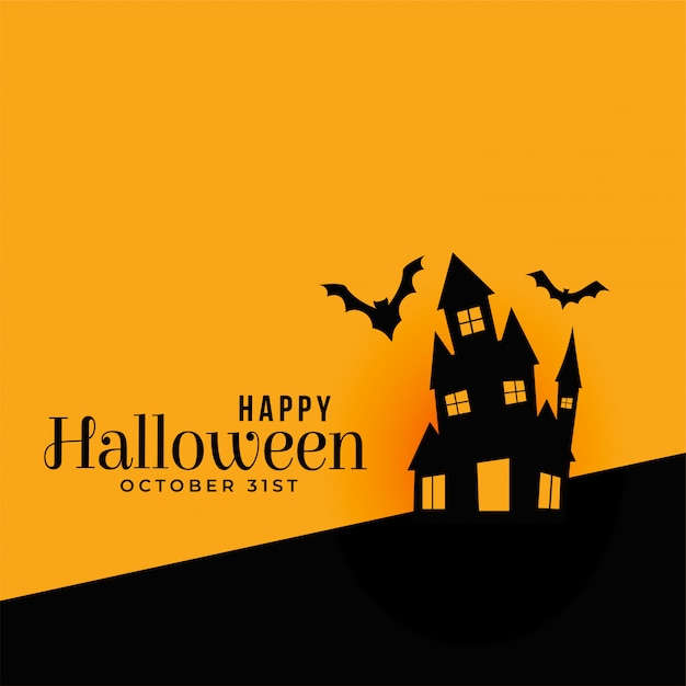 Feliz fondo de halloween con casa embrujada vector gratuito