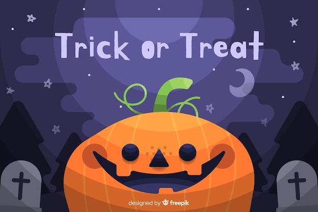 Feliz fondo naranja calabaza de halloween vector gratuito
