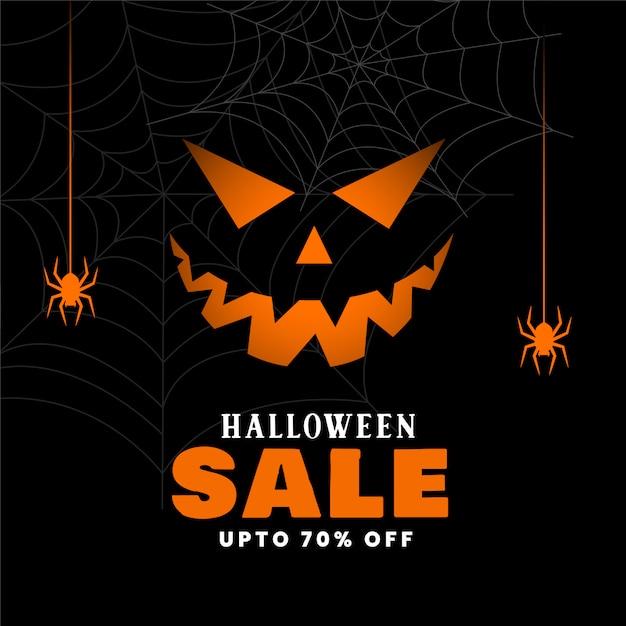 Feliz fondo de venta de halloween con calabaza malvada vector gratuito