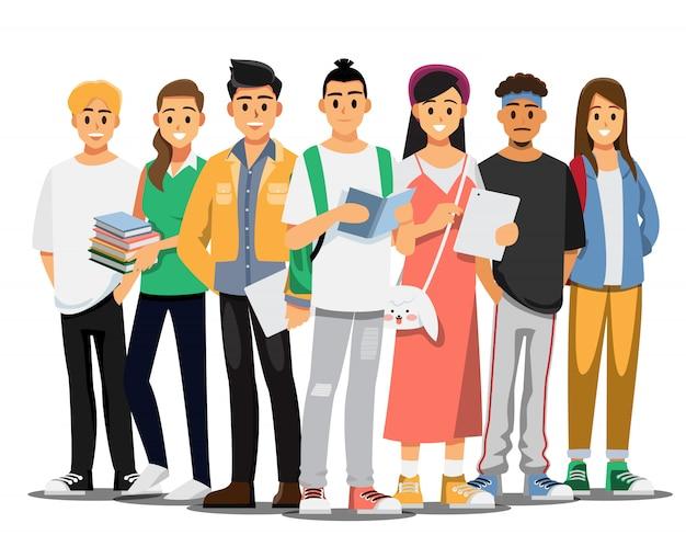 Feliz grupo de estudiantes universitarios adolescentes. personaje de  dibujos animados de ilustración. | Vector Premium