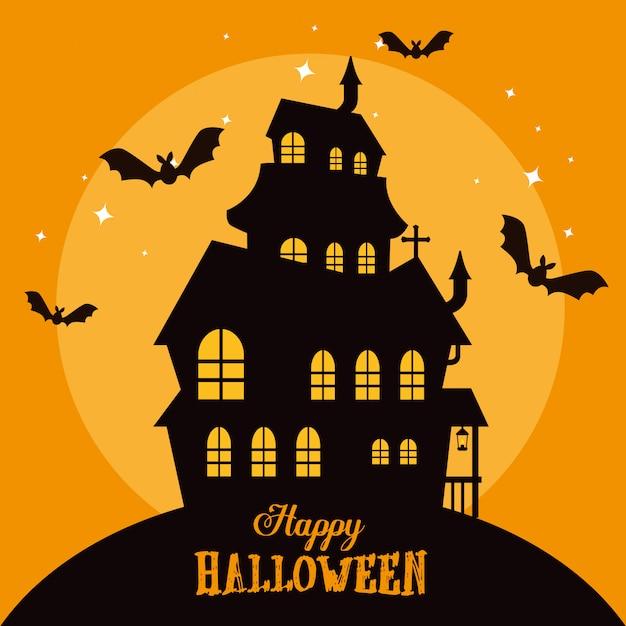 Feliz halloween con castillo encantado vector gratuito