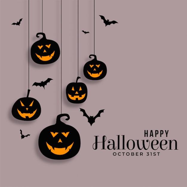 Feliz halloween colgando calabazas y murciélagos ilustración vector gratuito