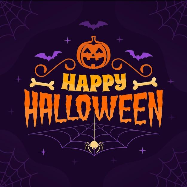 Feliz halloween - concepto de letras vector gratuito