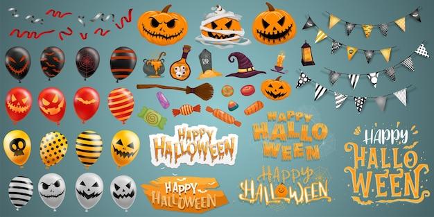 Feliz halloween elementos vector gratuito