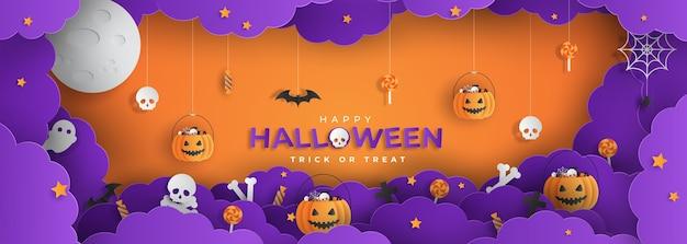 Feliz halloween estilo papercut Vector Premium
