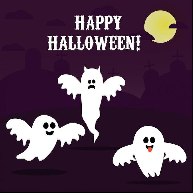 Feliz halloween, fantasma, fantasmas blancos asustadizos. personaje espeluznante de dibujos animados lindo cara sonriente, manos. Vector Premium