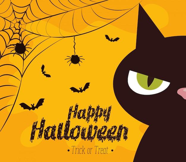 Feliz halloween con gato negro vector gratuito