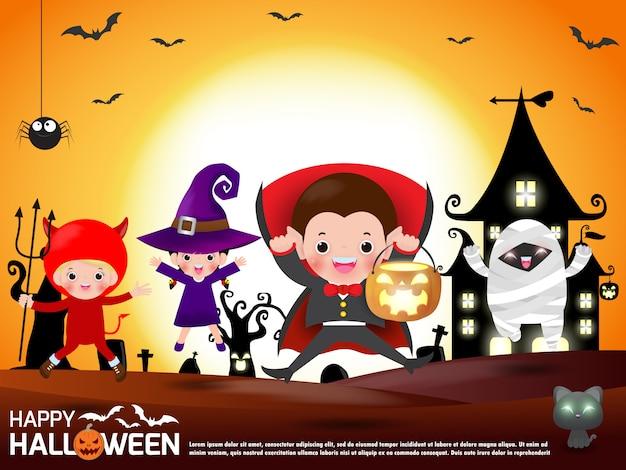 Feliz halloween. grupo de niños en disfraces de halloween saltando. ilustración feliz del tema de la fiesta de halloween Vector Premium