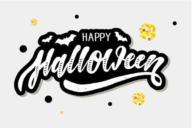 Feliz halloween letras caligrafía cepillo texto vacaciones Vector Premium