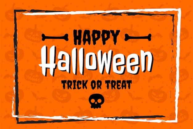 Feliz halloween en letras de diseño plano sobre fondo naranja Vector Premium
