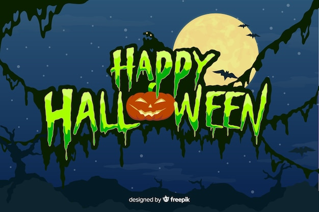 Feliz halloween con letras de luna llena vector gratuito