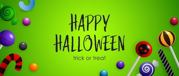 Feliz halloween, letras de truco o trato con lindos dulces vector gratuito