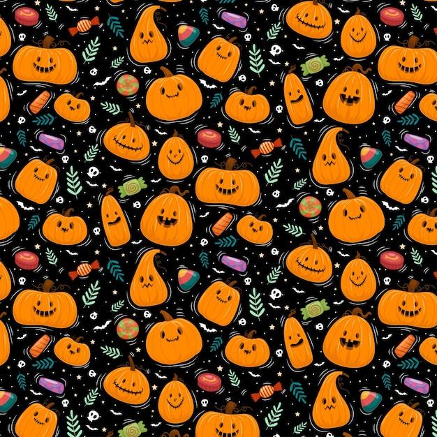 Feliz halloween o fondo de invitación de fiesta con calabazas vector gratuito