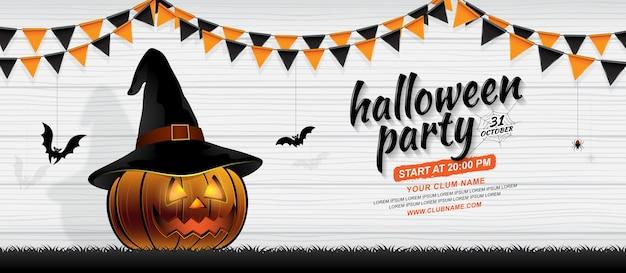 Feliz halloween party banner plantilla calabaza con sombrero de ...