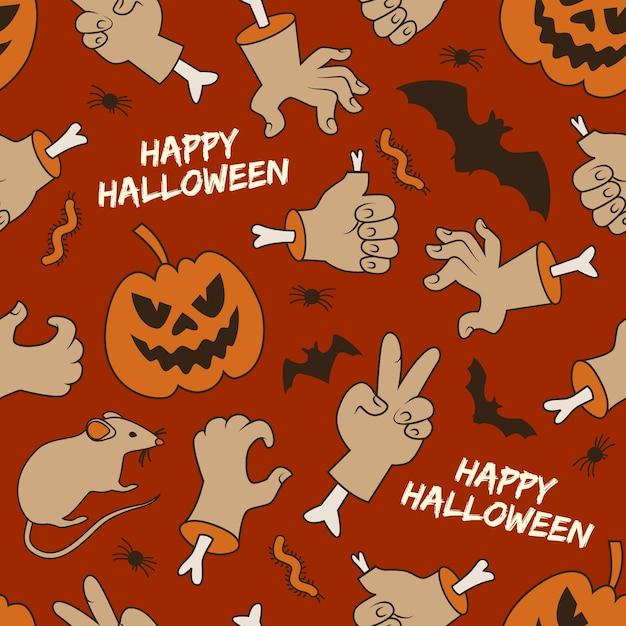 Feliz halloween de patrones sin fisuras con linternas de jack manos gusanos y murciélagos sobre fondo rojo. vector gratuito