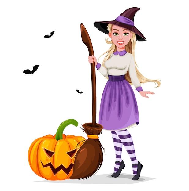 Feliz halloween. personaje de dibujos animados de bruja hermosa Vector Premium