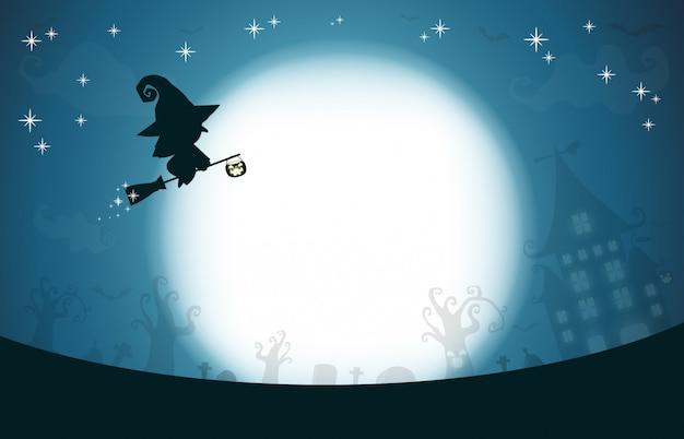 Feliz halloween, silueta de bruja en la luna, fondo de diseño de tema Vector Premium