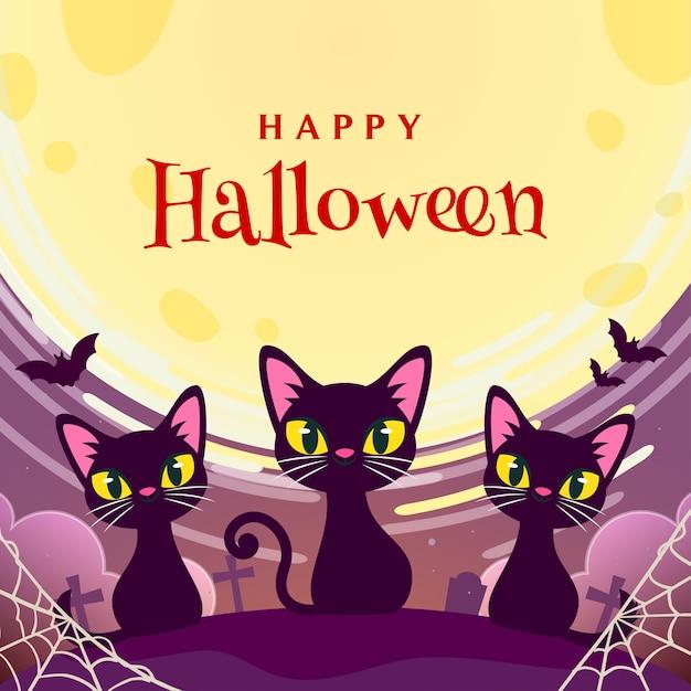 Feliz halloween con tarjetas de felicitación de gatos negros Vector Premium