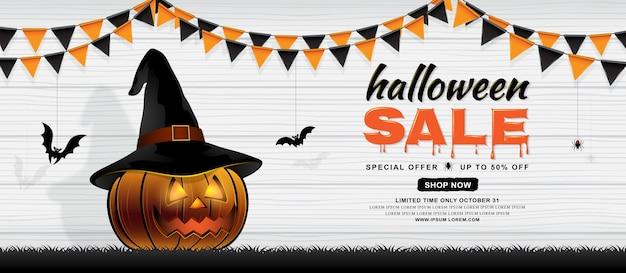 Feliz halloween venta banner plantilla calabaza con sombrero de ...