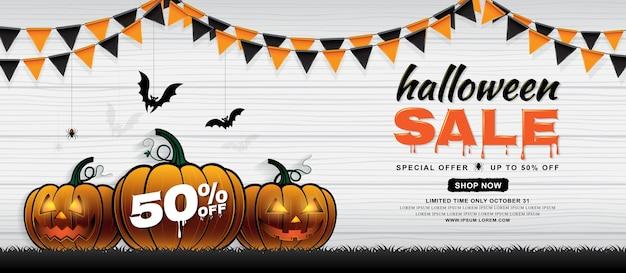 Feliz halloween venta banner plantilla calabazas y murciélagos ...