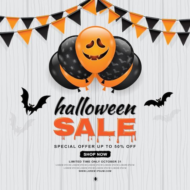 Feliz halloween venta banner plantilla globos fantasma y murciélagos ...