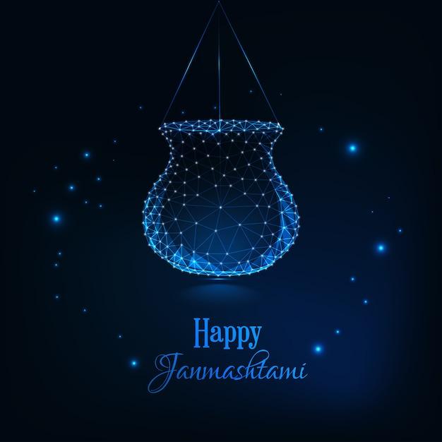 Feliz janmashtami, festival indio dahi handi celebración plantilla de tarjeta de felicitación. Vector Premium