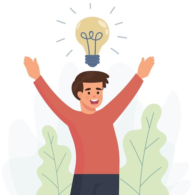 Feliz joven consigue una nueva idea Vector Premium