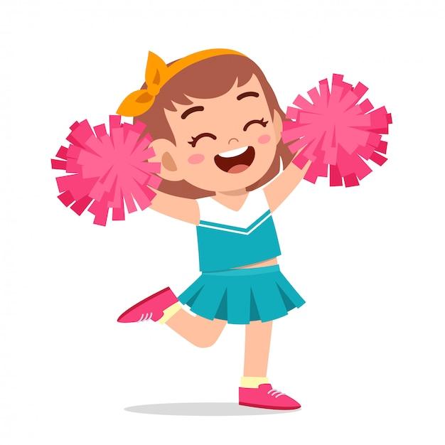 Feliz linda chica vistiendo uniforme lindo animadora Vector Premium