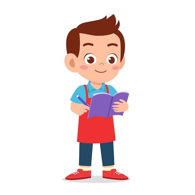 Feliz lindo chico camarero escribir orden Vector Premium