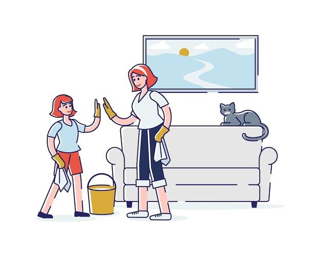 Feliz madre e hija limpiando la habitación juntos limpiando el polvo y la tristeza Vector Premium