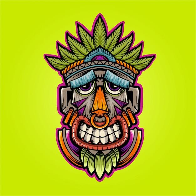 Feliz máscara ilustración Vector Premium