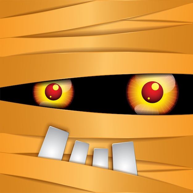 Feliz momia de halloween ojos Vector Premium