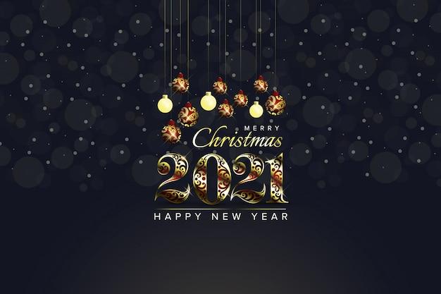 Feliz navidad 2021 y feliz año nuevo fondo Vector Premium