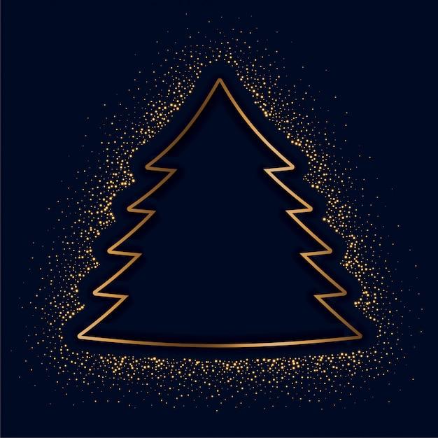 Feliz navidad árbol creativo hecho con destellos dorados vector gratuito
