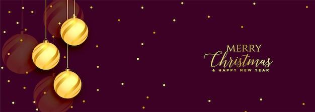 Feliz navidad banner dorado y morado hermoso vector gratuito