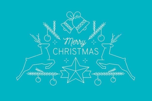 Feliz navidad con decoracion y renos vector gratuito