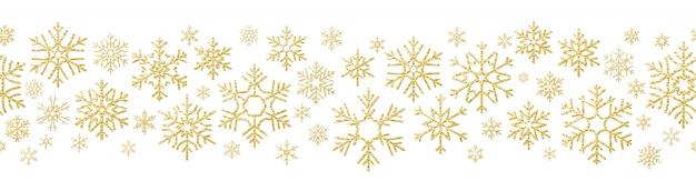 Feliz navidad efecto de decoración de vacaciones. copo de nieve dorada de patrones sin fisuras. Vector Premium