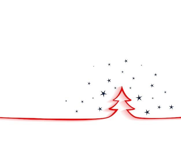 Feliz navidad elegante fondo con ltree rojo en estilo lineal vector gratuito