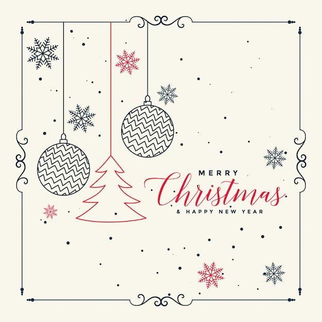 Feliz navidad elegante línea de fondo de arte vector gratuito