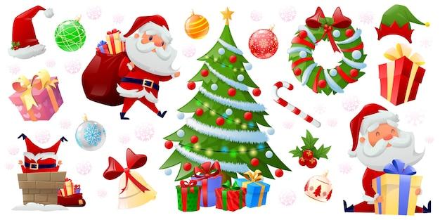 Feliz navidad elementos de color Vector Premium