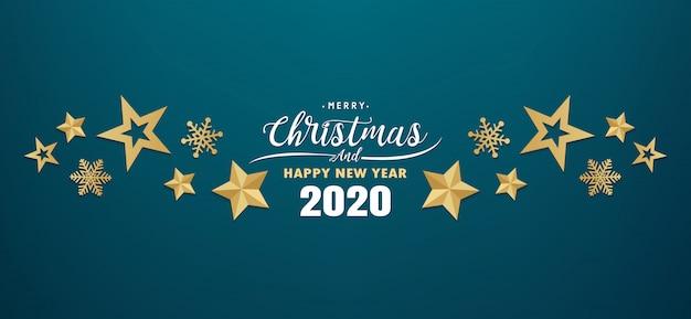 Feliz navidad y feliz año nuevo 2020 banner Vector Premium