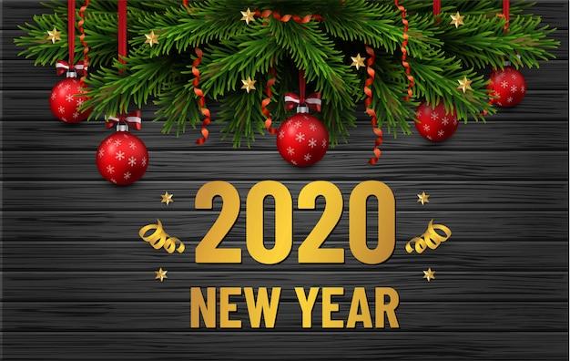 Feliz navidad y feliz año nuevo banner de venta. borde del árbol de navidad con adornos dorados sobre fondo de madera negra. folleto de negocios Vector Premium